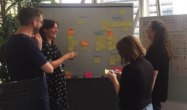 photograph showing part of our multidisciplinary team around a whiteboard.