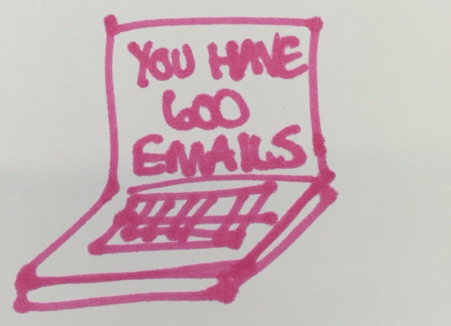 photograph of doodle from sketching session showing a laptop with the message 'you have 600 emails' on it depicting being overwhelmed by messages.